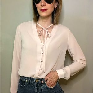 Lulu's Style Education pink button tie neck top S